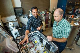 Dan Jaffe and Praphulla Chandra Boggarapu in lab, Sept 26, 2019