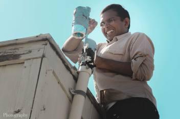 Praphulla Chandra Boggarapu setting up inlet, Boise, ID, Aug 11, 2019