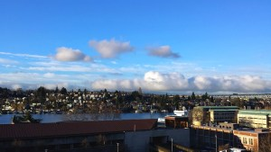 sunny view of Portage Bay and Capital Hill from UW Periodontics