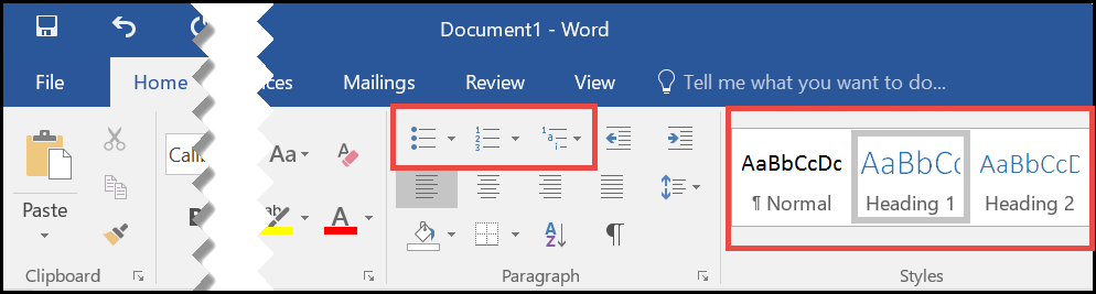 Ribbon - Home Tab - Styles in Microsoft Word 2016