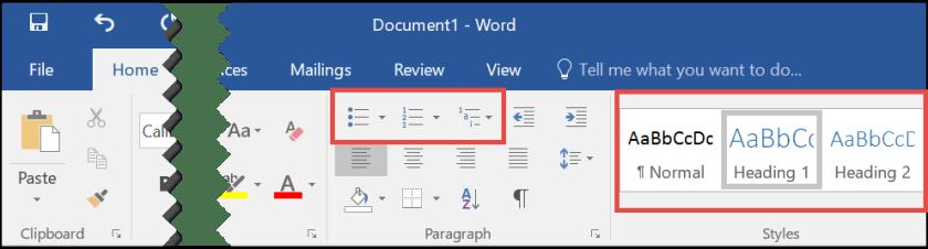 Ribbon - Home Tab - Styles in Microsoft Word 2016