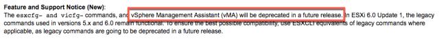 vMA Deprecation Notice