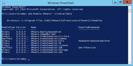 Example on showing a list of available PowerCLI modules