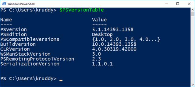 PSVersion Table Sample Output