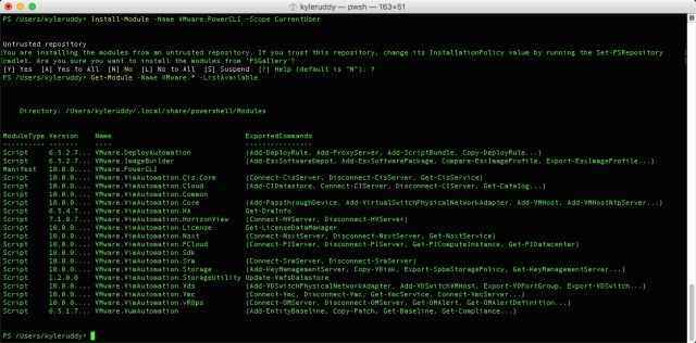Example: Installing PowerCLI with PowerShell Core