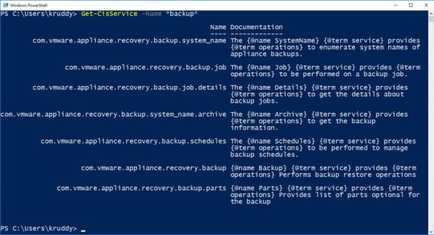 File-Based Backup Example: Listing CIS Services