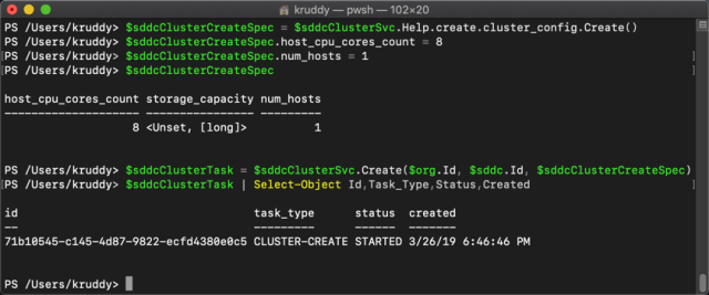Example: Creating a new cluster with 1 host and only 8 CPU cores per host