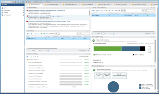 vRealize Operations for Horizon and Published Applications Overview Tab