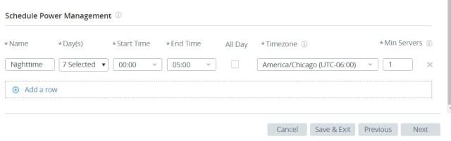 Horizon Cloud on Microsoft Azure Power Management Scheduling UI