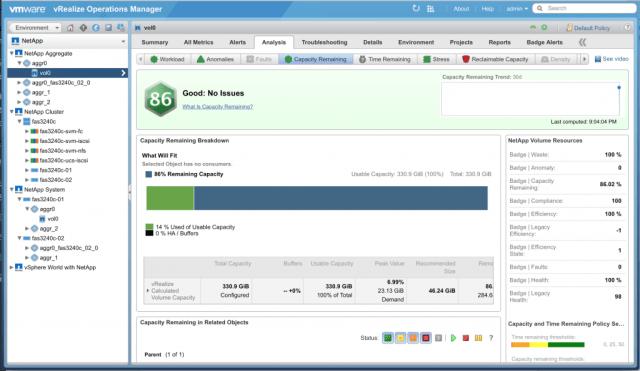 netapp management pack capacity remaining badge