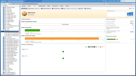 Example of a capacity analysis badge in Blue Medora's Oracle Enterprise Manager Management Pack for vRealize Operations