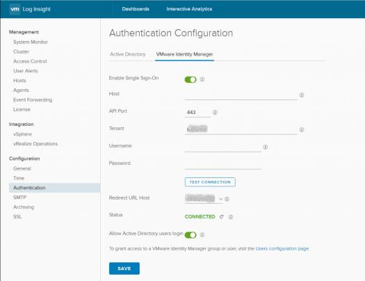 vIDM authentication configuration