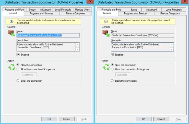 ms dtc firewall options