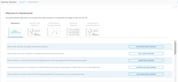 vRealize operations 6.6 getting started dashboard