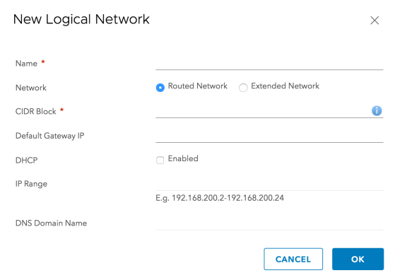 Figure 9: Creating NSX Logical Network on VMC