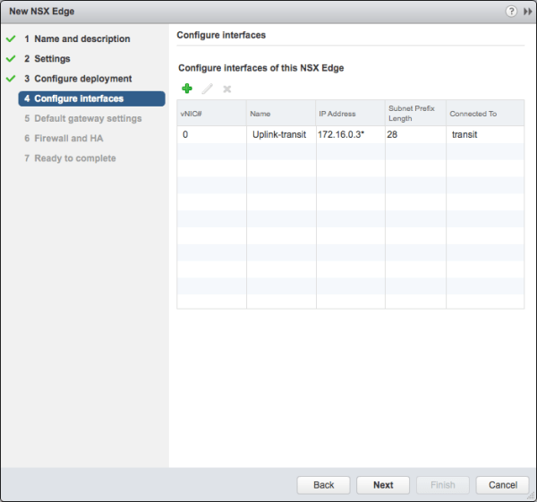 Deploy NSX Edge - Configure interfaces
