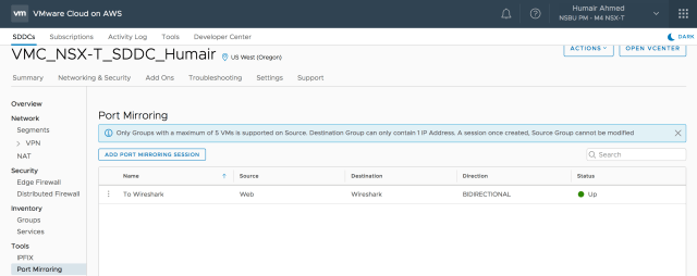 Figure 14: Port Mirroring with NSX-T SDDC