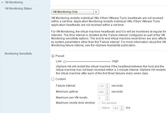 HA VM Monitoring Settings 2