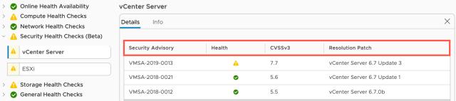 VMware Security Advisories in vSphere Health