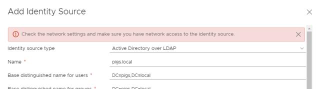 vSphere Add Identity Source Error