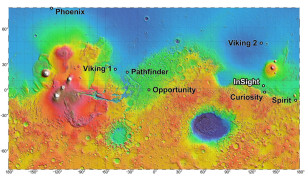 InSight mission officials have narrowed their spacecraft's landing site to four possible spots located close together in the Elysium Planitia region of Mars.  You can see InSight's possible landing site, labeled in white letters on this map.  Note the landing sites of other current and past Mars probes. (NASA/JPL-Caltech)