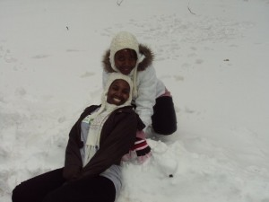 My friend and I enjoying our first day in the snow.