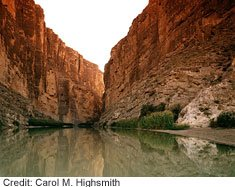 Big Bend National Park includes the most scenic portion of the Rio Grande River, which forms more than 1,500 kilometers of the border between Mexico and the United States.