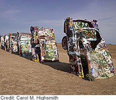 "A quirky sight on the Cadillac Ranch along historic U.S. Highway 66 near Amarillo is a graffiti artists' delight called the ""Ant Farm."" Beyond it is nothing but Panhandle flat land."