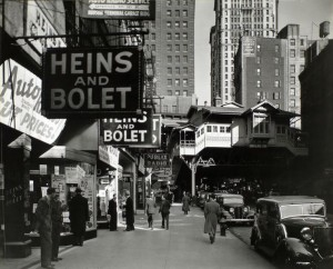 """This is """"Radio Row,"""" photographed in 1936.  That entire neighborhood, and more, would be subsumed by the World Trade Center towers when they rose in the 1970s.  (Works Progress Administration photograph)"""