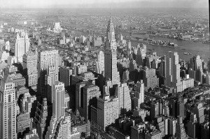 By 1932, a year after the Empire State Building rose, many skyscrapers, including the Chrysler ahead, had sprouted.  (Library of Congress)