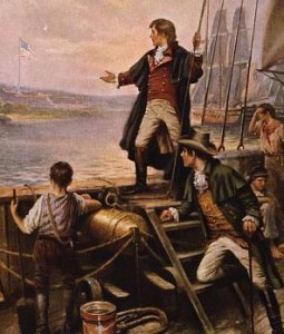 Francis Scott Key watches the bombardment of Fort McHenry in this painting by Percy Moran.  (Library of Congress)