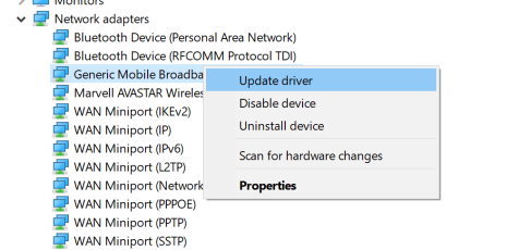 • Go to Network Adapters -> Generic Mobile Broadband Adapter or xxxxx Mobile Broadband Adapter in Device Manager.