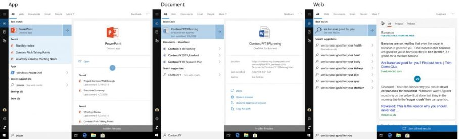 Three examples of different previews side by side. PowerPoint, a Word doc, and a Bing search.