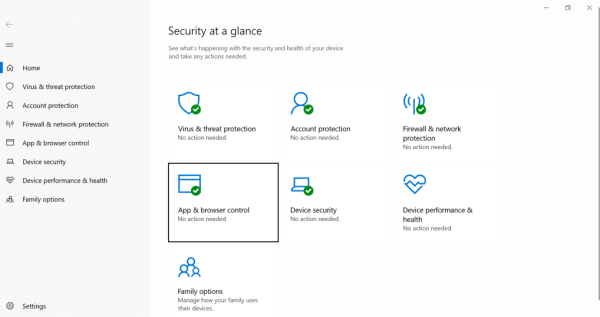 """Windows Security app, """"App & Browser control"""" category highlighted."""