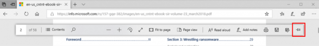 Showing the PDF toolbar, the pin icon on the right side highlighted.