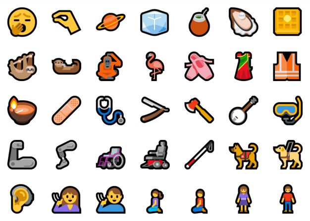 A selection of the new emoji. Including waffle, guide dog, yawning, sloth, and more.