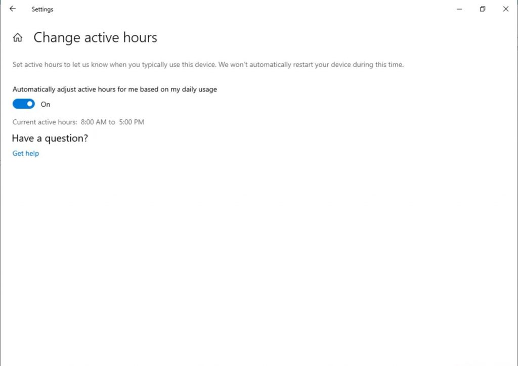 "Showing the ""Change Active Hours"" page in Settings. Now has a toggle which says ""Automatically adjust active hours for me based on my daily usage."""