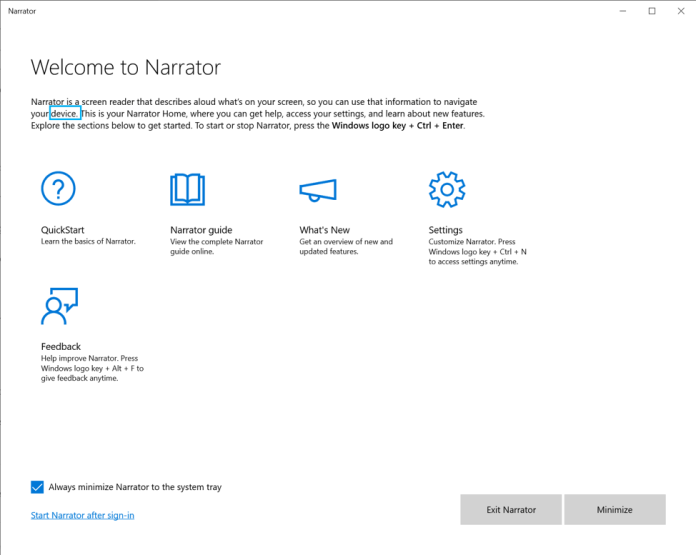 Showing the Narrator Home, with a landing page that says Welcome to Narrator.