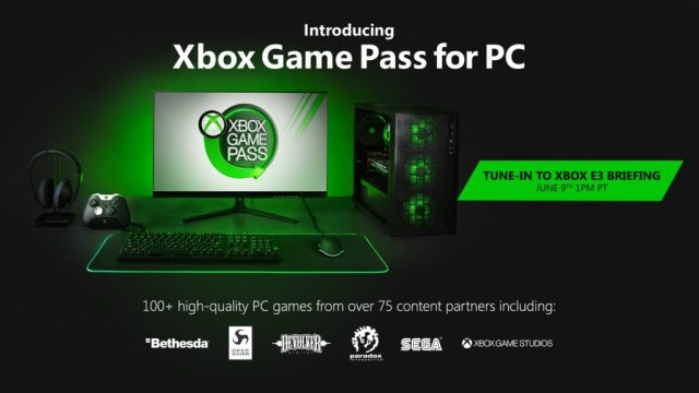 PC desktop, tower with Xbox Game Pass displayed on monitor