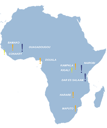 African cities covered by the 2021 World Bank study on connectivity and human capital