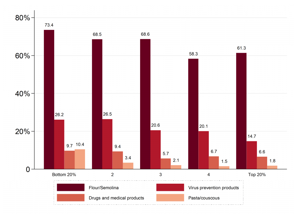 Figure 4. Percentage of households not being able to buy certain basic items, by quintiles