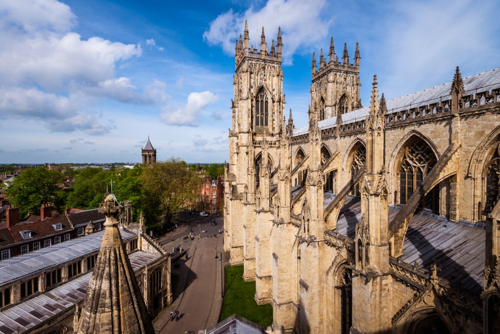 The view across the rooftops of York as seen from York Minster