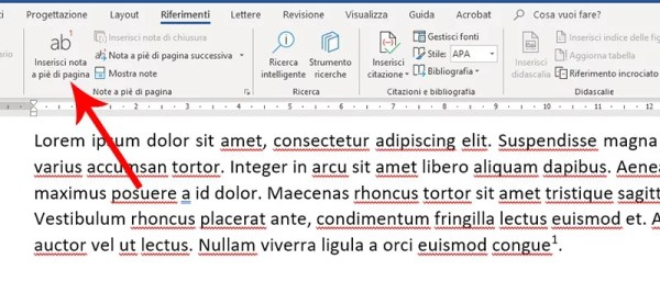 Note in Microsoft Word