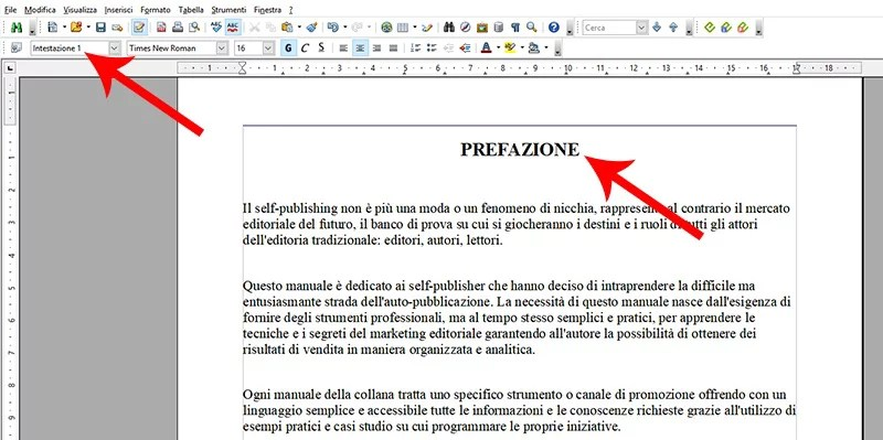 stili per i titoli in open office