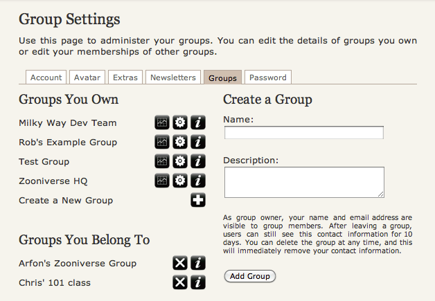 Groups Screenshot