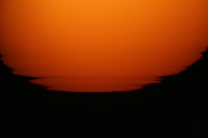 Sunset through solar telescope
