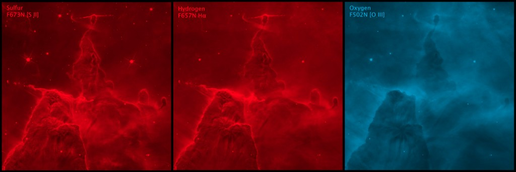 Color applied to grayscale images of Carina Pillar