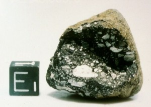Allan Hills 81005 - the first lunar meteorite to be recognised. This rock was picked up in Antarctica in 1981. Credit: NASA