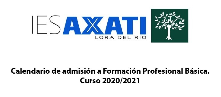 Calendario de admisión a Formación Profesional Básica.  Curso 2020/2021