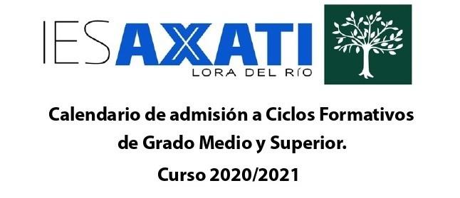 Calendario de admisión a Ciclos Formativos de Grado Medio y Superior.  Curso 2020/2021